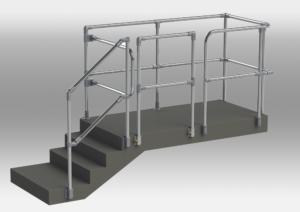 Treppe mit Geländer, Rohrverbinder 40mm