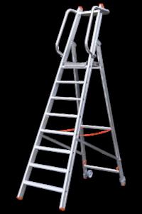 Aluminium-Plattformstehleiter Profi, Klapp-Podest-Tritt Profi einseitig, Tritt Profi beidseitig starr, Teleskopleiter klappbar, Treppe, Anstiege, Profi-Stufenleiter, Helicopter-Wartungsbühne, Anlegeleiter, Stufenleitern, Profi-Leiter, Arbeitsbühne, Ortsfeste Leiteranlage, POESCHCO, Laufsteganlage