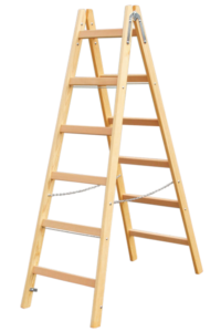 Sprossenstehleiter, Holzleiter, Holzstufenleiter, Poeschco-Profileitern, Profi-Stufenleitern, Podestleiter, Anlegeleiter