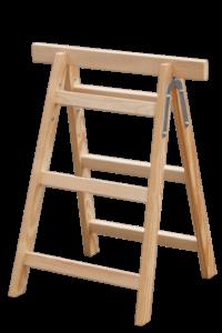 Tapezierbock 3-sprossig, Tapezierbock 2-sprossig, Sprossenstehleiter, Holzleiter, Holzstufenleiter, Poeschco-Profileitern, Profi-Stufenleitern, Podestleiter, Anlegeleiter