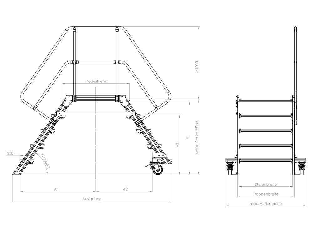 POESCHCO, Treppensystem mit Handlauf